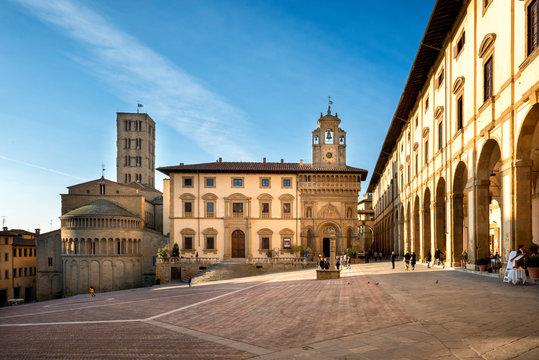 Arezzo: Piazza Grande the main square of  Arezzo city, Tuscany, Italy