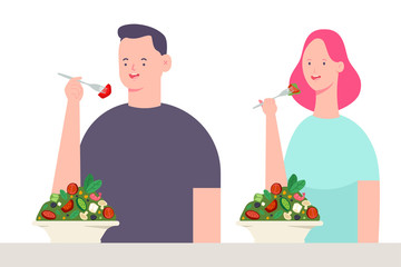 Young couple eating salad. Vector cartoon character of man and woman. Healthy food illustration isolated on white background.