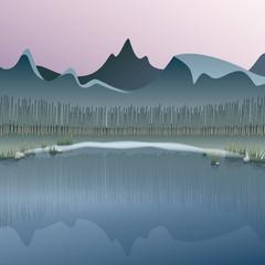 evening mood at a mountain lake