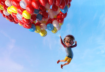 Happy kid boy having fun flying up with air ballons. Funny child cartoon character of little boy with vintage aviator glasses and helmet. Freedom and happy childhood concept. 3D render