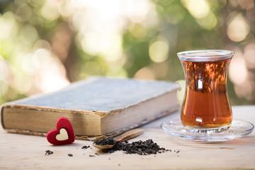 Turkish Tea Concept, Window , Book , Bokeh and Tea