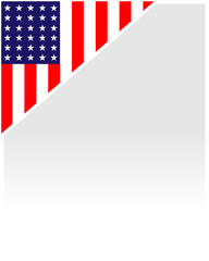 USA flag corner frame background.