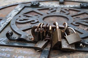 closeup of old keys
