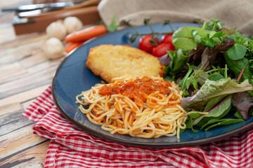 Cordon Bleu macaroni Pasta with salad