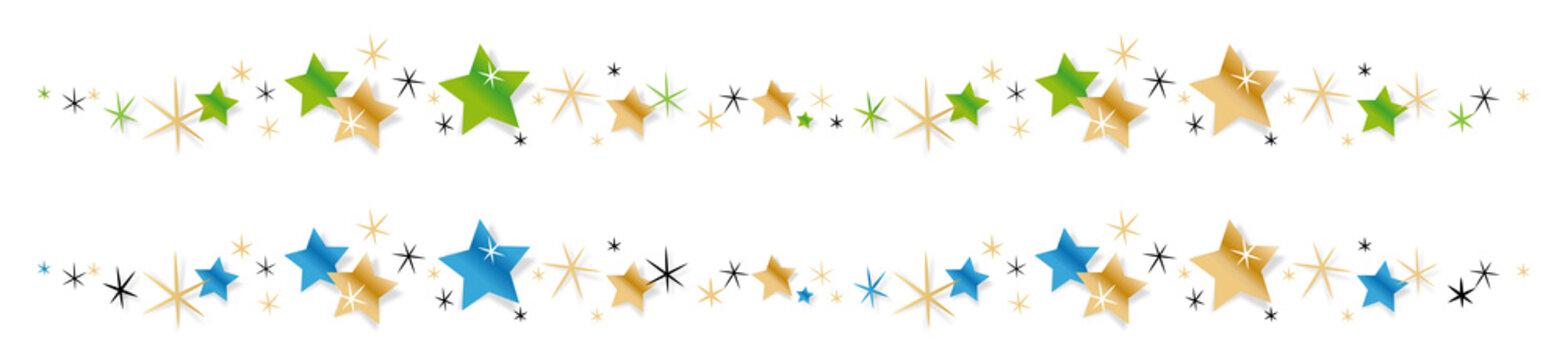 Frise étoiles vert et or / bleu et or