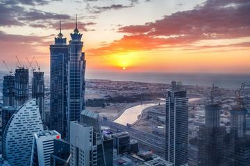 Aerial view on skyscrapers of Dubai, United Arab Emirates. Spectacular urban skyline.