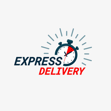 Express delivery icon. Timer and express delivery inscription on light background. Fast delivery, express and urgent shipping, services, chronometer sign.