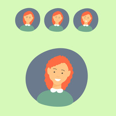 Woman with orange hair with different facial expressions. Vector cartoon illustration, flat design.