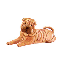 Artistic drawing of a Chinese Shar Pei. Digital art