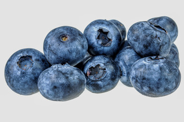 Bunch of blueberries on white background