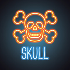 Poster Positive Typography skull logo with neon sign effect. vector illustration