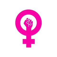 Icono plano símbolo feminista con puño en color rosa