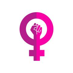 Icono plano símbolo feminista con puño en dos tonos de rosa