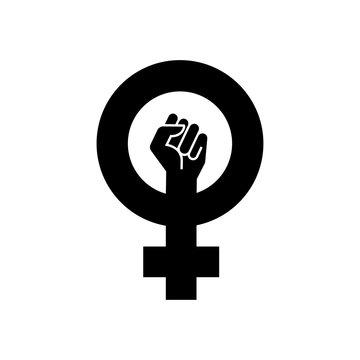 Icono plano símbolo feminista con puño en color negro