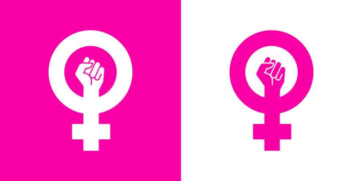 Icono plano símbolo feminista con puño en rosa y blanco