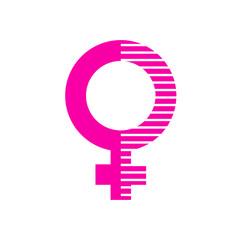 Icono plano símbolo femenino rosa con lineas blancas en la mitad