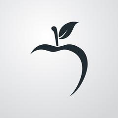 Icono plano abstracto con manzana con espacio negativo en fondo gris