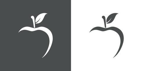 Icono plano abstracto con manzana con espacio negativo en gris y blanco