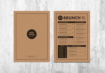 Menus with Kraft Background Layout