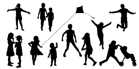 silhouettes of children in various poses. Children play, walk, run, jumping, vector. Set of illustrations of kids activity.
