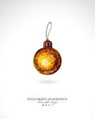 Illustration of a glossy gold ball Christmas toy drawn by hand on a white background. Traditional Christmas decoration painted with colorful markers, imitation of watercolor.