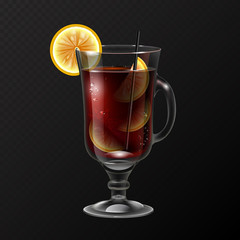 Realistic cocktail long island ice tea glass vector illustration on transparent background