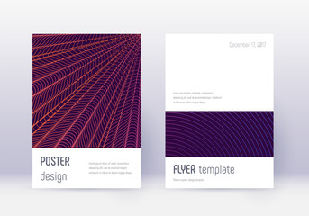 Minimalistic cover design template set. Violet abs