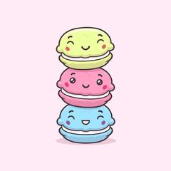 Aluminium Prints Macarons Cute happy macarons cookies stack vector cartoon kawaii illustration
