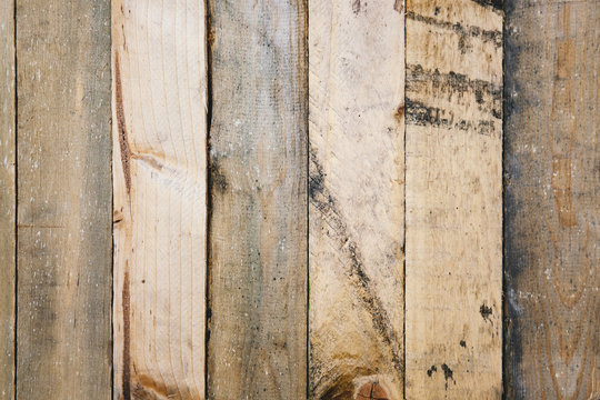 Old wood planks wall panel with scratched, dirty and rustic on textured surface. Abstract nature background.