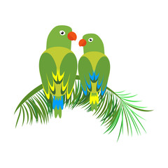 Icon of a sitting parrot. Tropical bird, simple parrot clipart. Modern vector illustration in a simple, flat style isolated on white background.