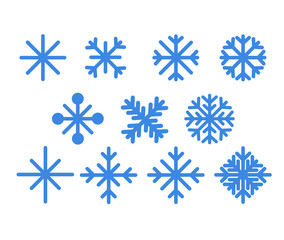 Set of blue snowflakes.Christmas design vector icons isolated on white background. Snowflake silhouettes. Symbol of snow, holiday, cold weather, frost. Winter design element.Vector illustration - Vect