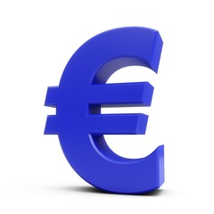 3D Rendering Blue Euro Sign isolated on white background