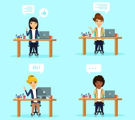 Set of concepts. Young girls in the workplace with speech bubbles. Character. In flat style on blue background. Cartoon.