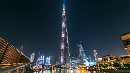 Dubai downtown and Burj Khalifa timelapse in Dubai, UAE Wall mural