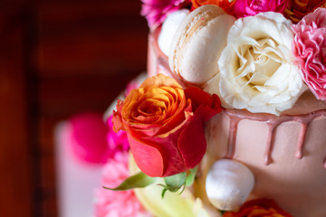 A cake decorated with roses