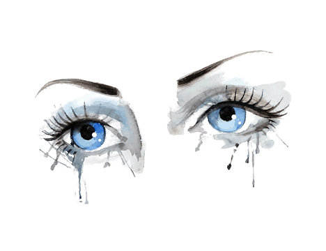 beautiful female eye with watercolor grunge background