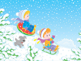 Poster de jardin Sous-marin Small children sledding down a snow hill in a snow-covered winter park, vector illustration in a cartoon style
