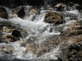Water flowing and splashing over rocks in a mountain river stream