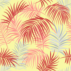 Exotic wild floral print. Tropical vector seamless flower and  wild flora. Blooming wild print, seamless floral pattern. For wallpaper, backgrounds, textile, fabric printing. Vector illustration.