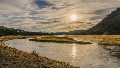 Yellowstone National Park Madison River am Morgen