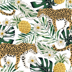 Tropical leopard animals, pineapple fruit, plumeria flowers, green palm leaves, white background. Vector seamless pattern. Graphic illustration. Summer beach floral design. Paradise nature