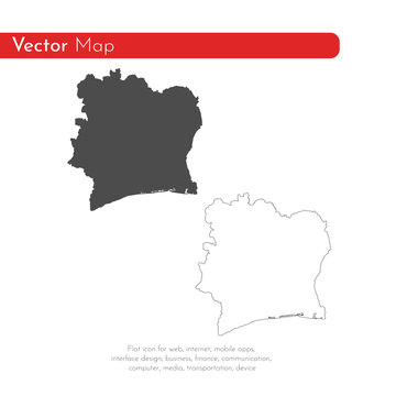 Vector map Cote d'Ivoire. Isolated vector Illustration. Black on White background. EPS 10 Illustration.