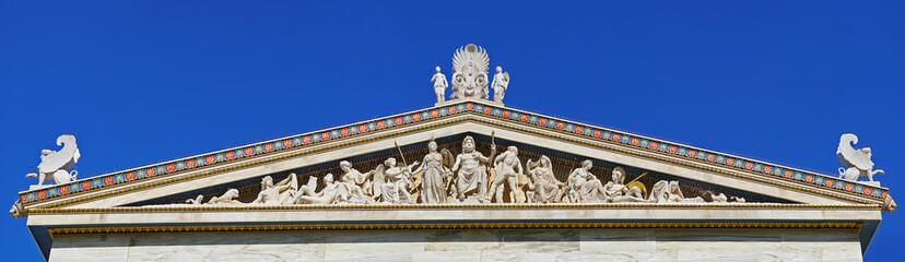 Sculptural complex of ancient twelve gods on academy building in Athens