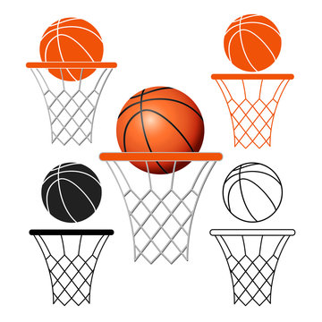 Basketball basket, hoop, ball