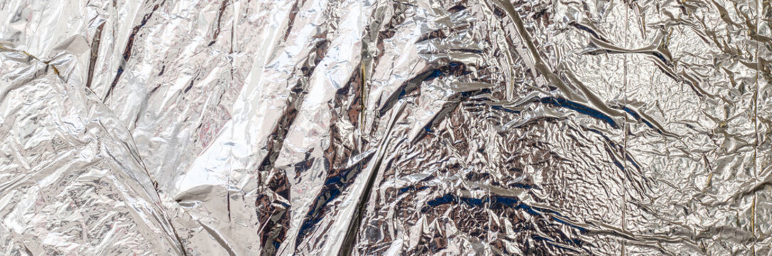 White silver crumbled plastic material texture banner background