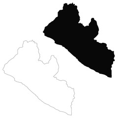 Vector map Liberia. Isolated vector Illustration. Black on White background. EPS 10 Illustration.