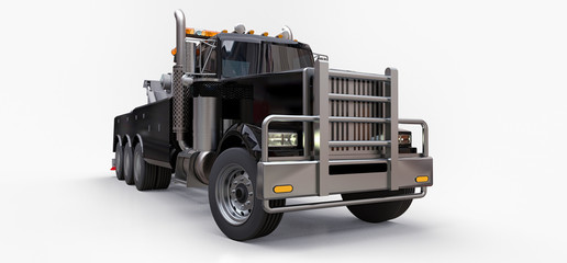 Black cargo tow truck to transport other big trucks or various heavy machinery. 3d rendering.