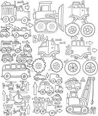 Cute Transportation Doodle Vector Set Illustration