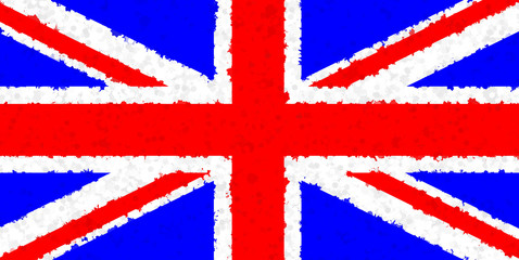 Graphic illustration of a British flag with an irregular pattern
