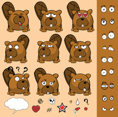 cute little beaver ball style expressions set in vector format very easy to edit